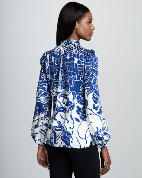 Ascot-Neck Printed Silk Blouse, Blue/White