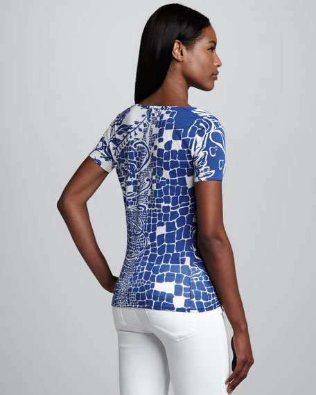 Printed Jersey Top, Blue/White