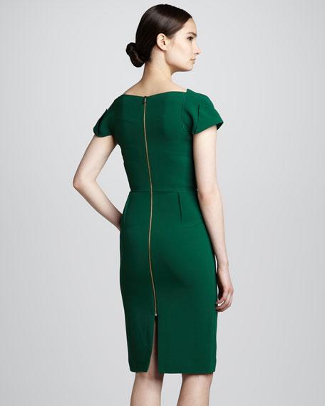 Alexandria Folded Sheath Dress, Fern Green