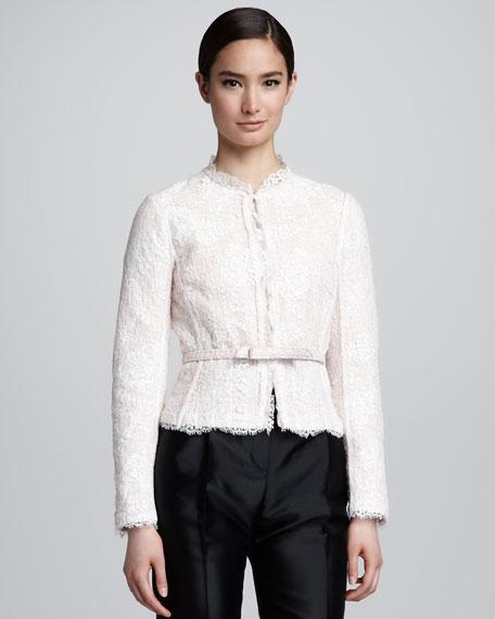 Reversible Lace/Tweed Jacket, Light Pink