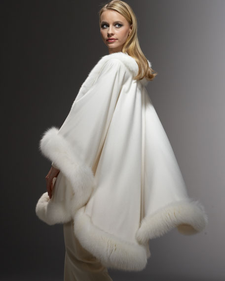Fur-Trim Cashmere Cape