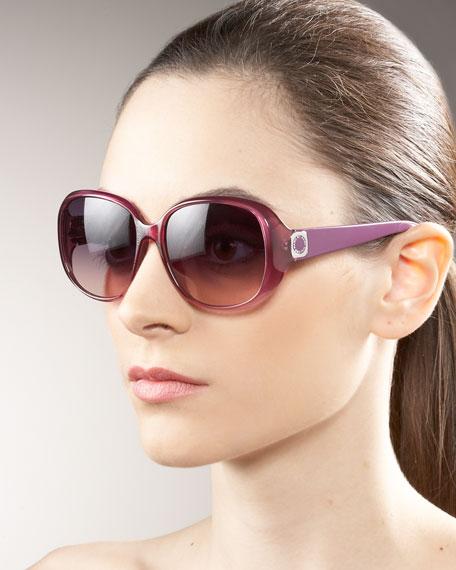 Round Square-Logo Sunglasses
