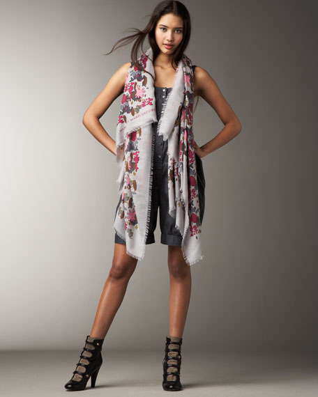 Cashmere-Silk Painted Camo Scarf