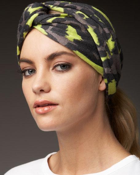 Marley Animal-Print Headband, Gray/Neon