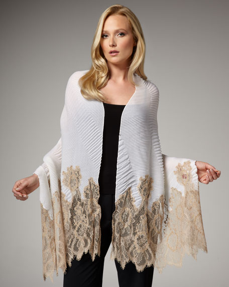 Signature Cashmere Lace Stole, Neutral