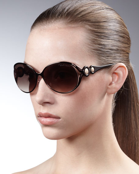 Soft Oval Metal & Resin Sunglasses