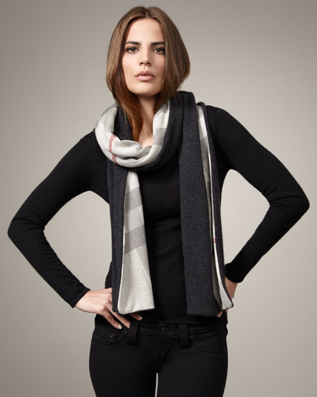 Solid-to-Check Scarf, Dark Gray