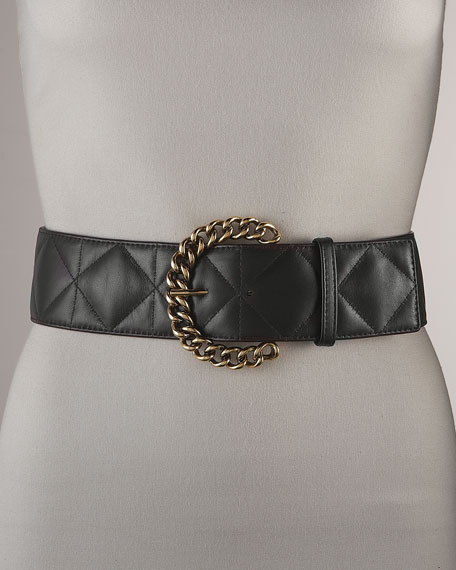 Chain-Buckle Quilted Suede Belt