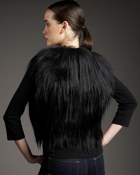 Cropped Long Goat-Hair Vest