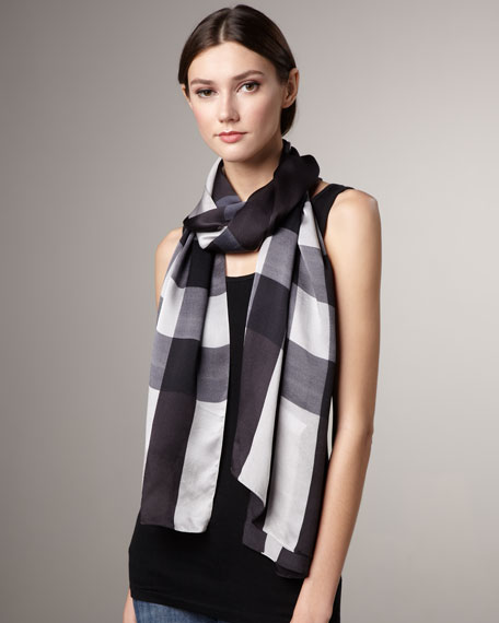Mega-Check Satin Stole