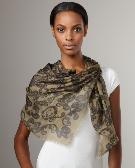 Lace-Print Skull Scarf, Army