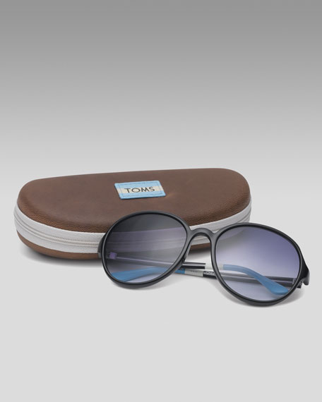 Classic 201 Sunglasses, Black/Light Blue