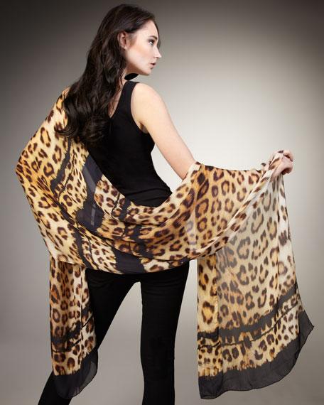 Jaguar-Print Chiffon Stole