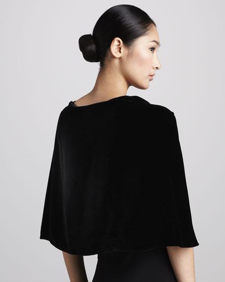 Velvet Rosette Capelet, Black
