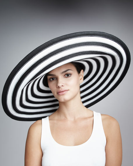 Striped Wide-Brim Hat