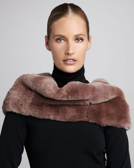 Rabbit Fur-Paneled Infinity Scarf