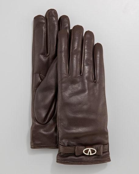 V Strass Logo Leather Gloves