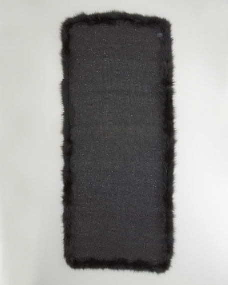 Fox-Trimmed Sequined Cashmere Shawl, Nero
