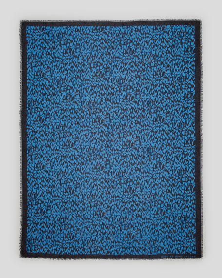 Animal-Print Scarf, Blue