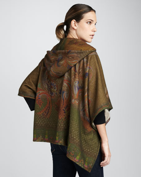 Cashmere Paisley Hooded Cape