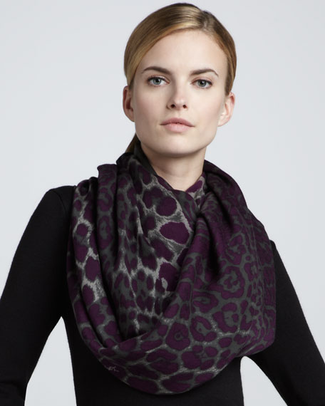 Animal-Print Extra-Large Scarf, Amethyst