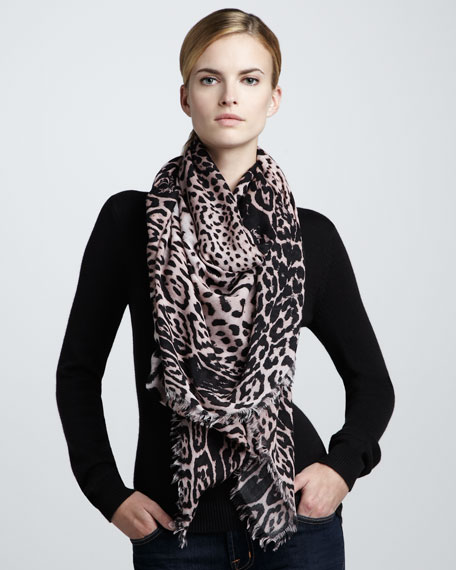 Animal-Print Extra-Large Scarf, Dragee