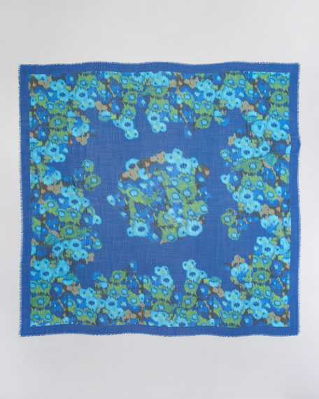 Ocean Meadow Wool Voile Scarf