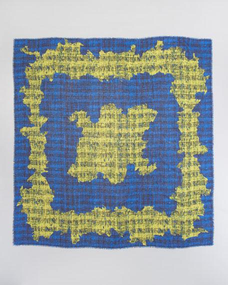 Tweed-Print Wool Voile Scarf