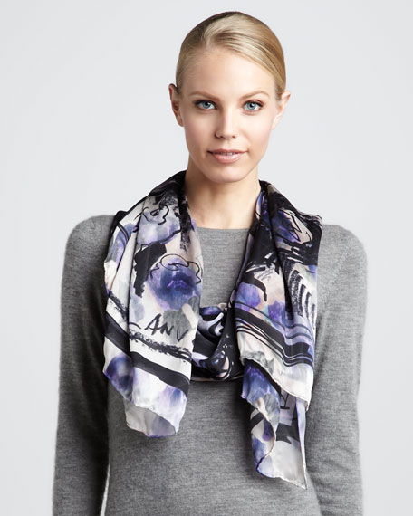Painterly Floral-Print Scarf