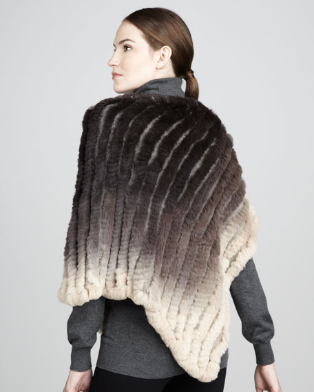 Ombre Knitted Rabbit Poncho