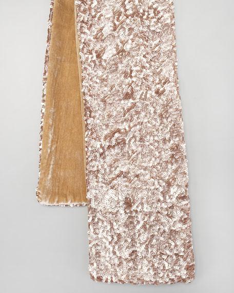 Extra-Long Sequined Velvet Scarf, Golden
