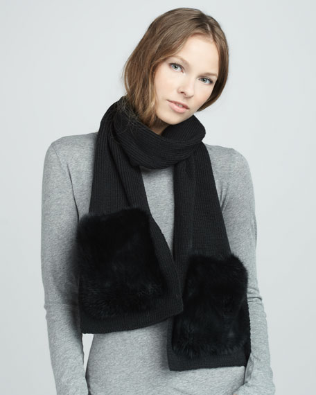 Fur-Pocket Scarf, Black
