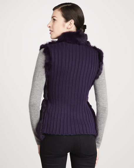 Candy Knit-Back Zip-Front Rabbit Fur Vest, Amethyst