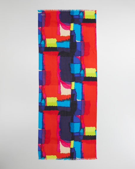 abstract-print merino scarf