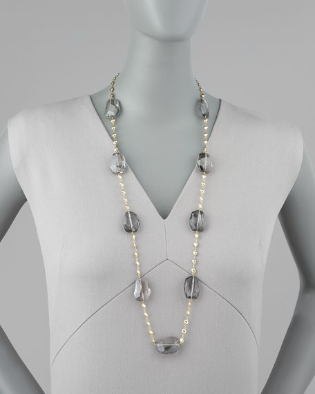 Crystal-Station Necklace, Gray