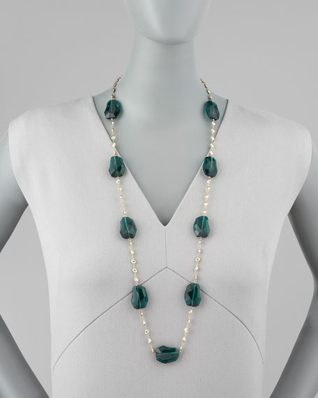 Crystal-Station Necklace, Green