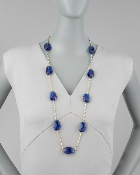 Crystal-Station Necklace, Blue