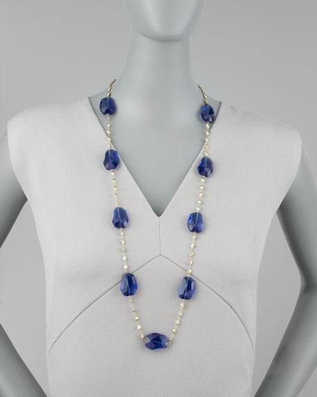 Crystal-Station Necklace, Blue
