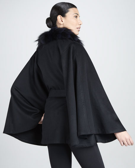 Feathered Fox-Collar Cashmere Cape, Navy