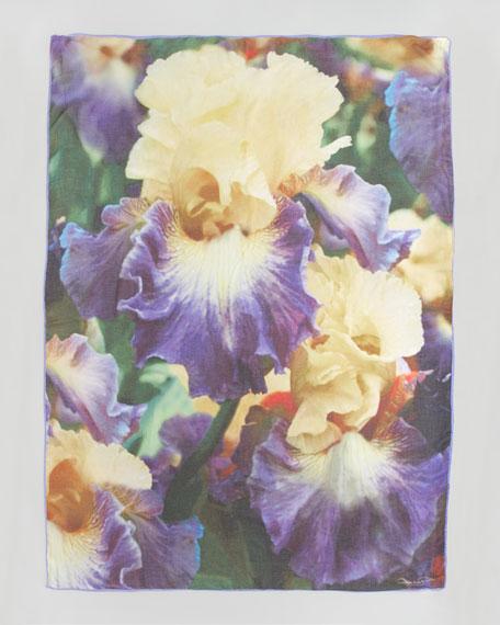 Seasonless Iris-Print Scarf