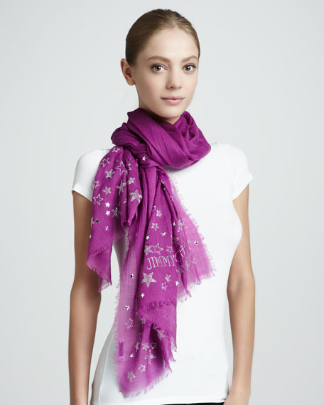 Sketch Star-Studded Scarf, Orchid