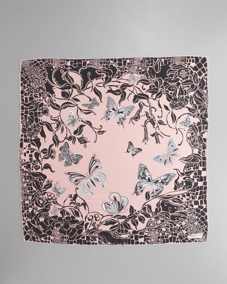 Sylvan Printed Silk Scarf, Pink