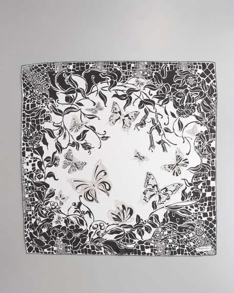 Sylvan Printed Silk Scarf, Black