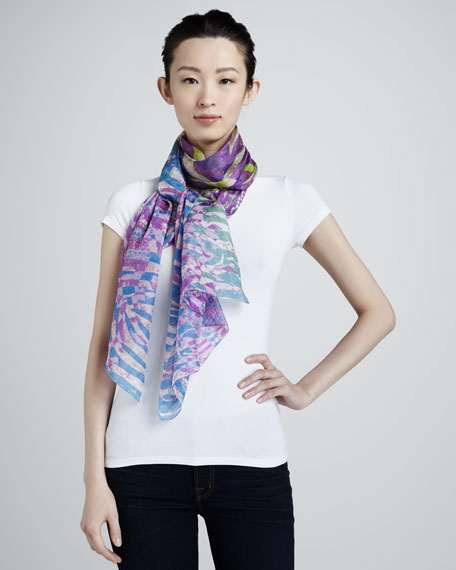 Siracusa Exotic Scarf, Pink/Lime/White