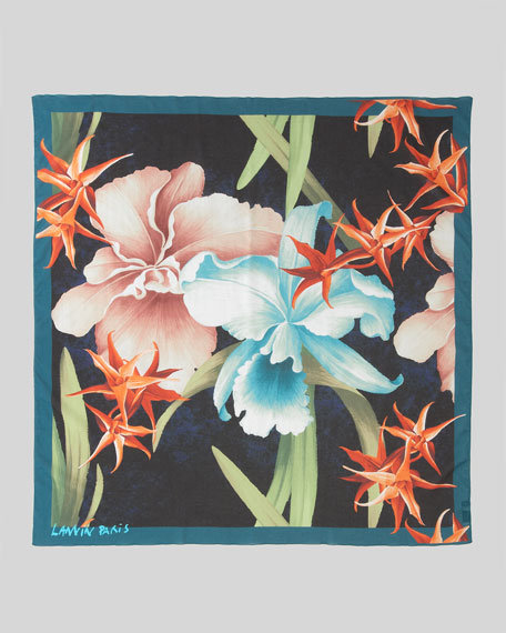 Fleurs Cotton Scarf, Navy Blue