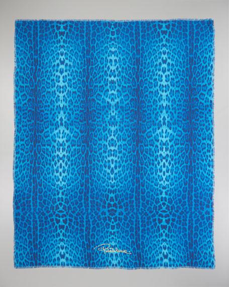 Animal-Print Scarf, Turquoise
