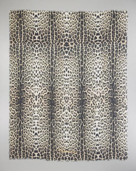 Animal-Print Scarf, Natural