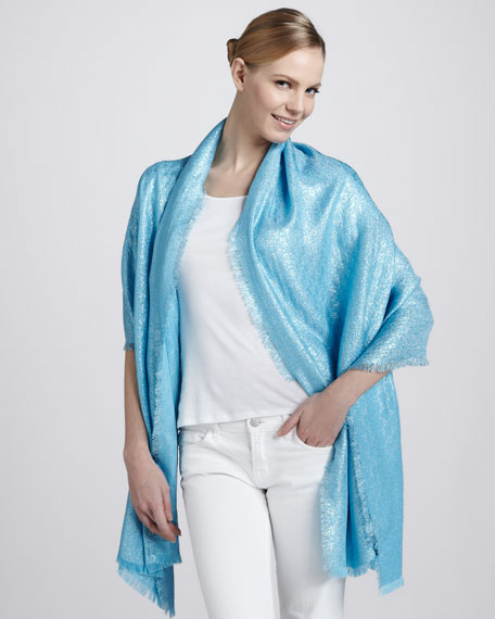 Calilure Shimmer GG Logo Stole, Turquoise/Blue