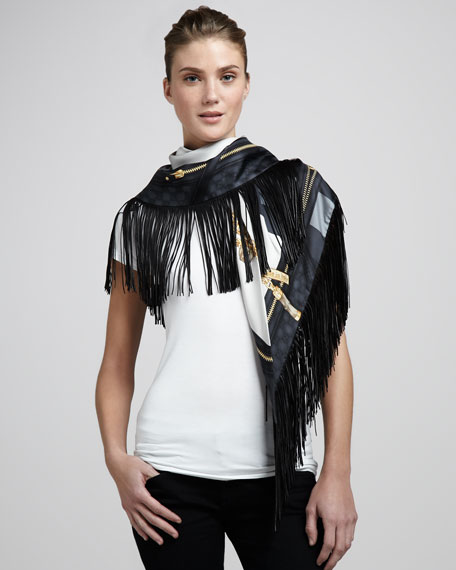 Calantia Leather-Fringe Silk Scarf