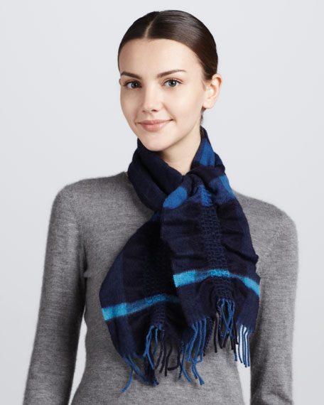 Ruched-Check Cashmere Scarf, Pale Petrol Blue
